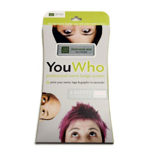 YouWho Professional Name Badge System - 1.5 x 3 inch Silver Metal with Dome Lens