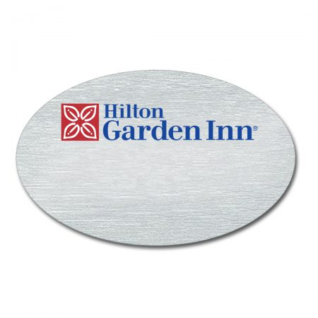 Logo Only Oval Metal Name Tags