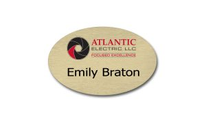 Gold Oval Metal with Atlantic Electric Name Badge