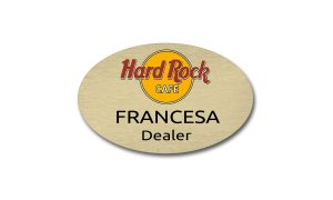 Gold Oval Metal Name Badge