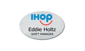 Silver Oval Metal IHop Name Badge
