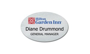 Silver Oval Metal with Hilton Name Badge