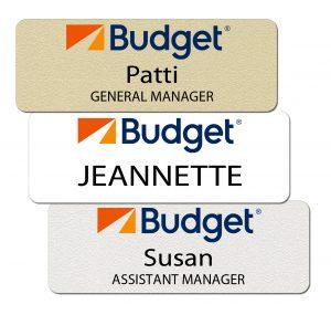 Budget Rental Car Name Badges
